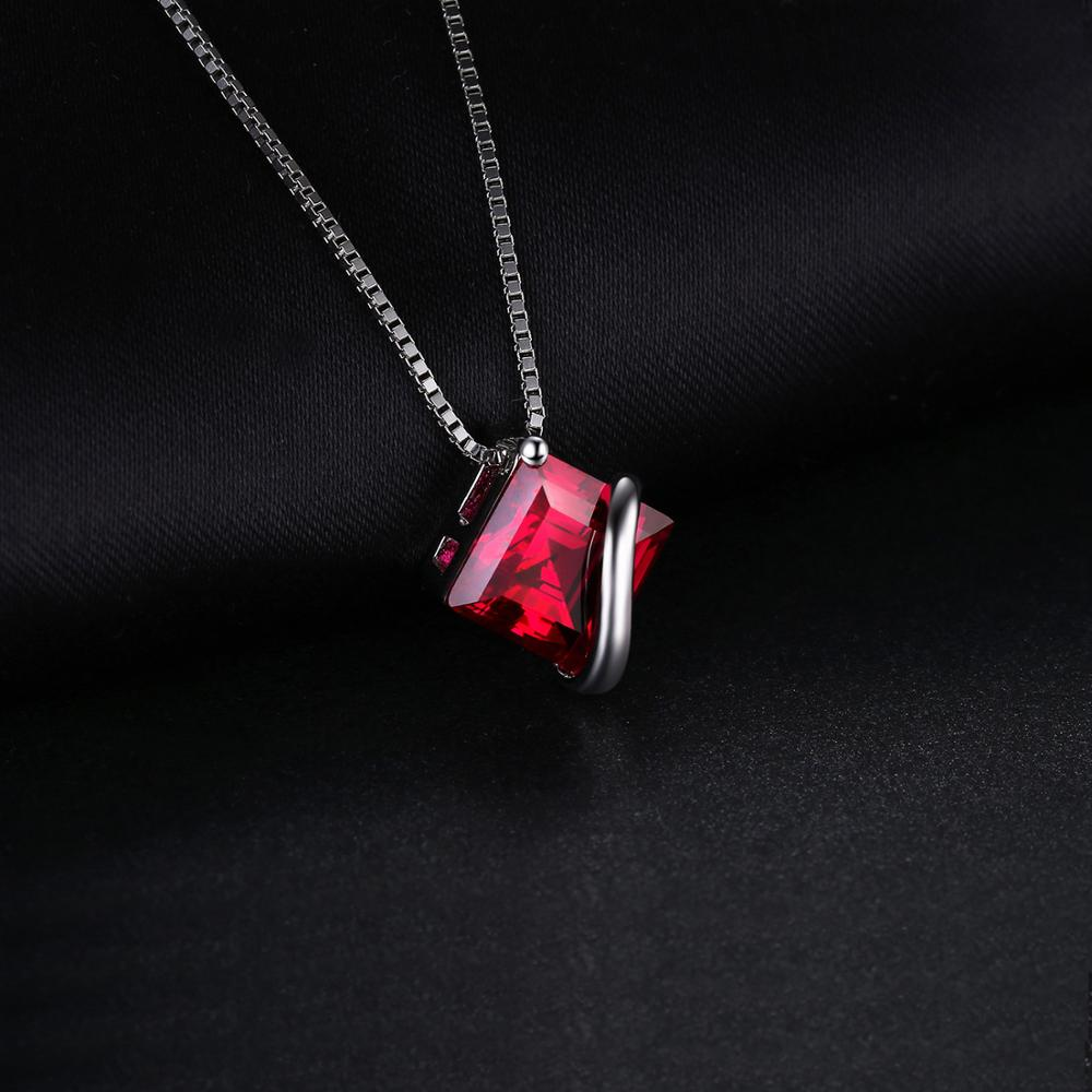 Created Red Ruby Pendant Necklace 925 Sterling Silver Gemstones Choker Statement Necklace Women Without Chain - BEAUVAN
