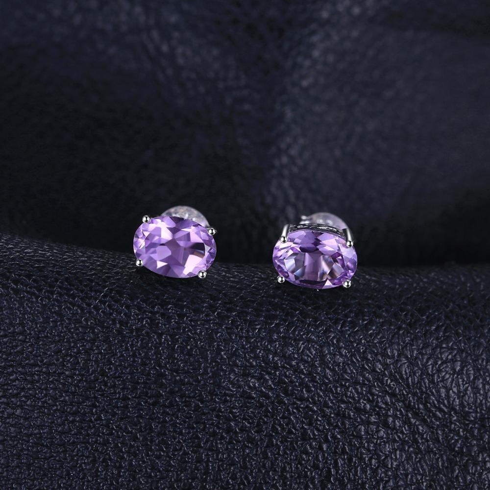 1.4ct Genuine Amethyst Stud Earrings 925 Sterling Silver Earrings For Women Korean Earings Fashion Jewelry - BEAUVAN