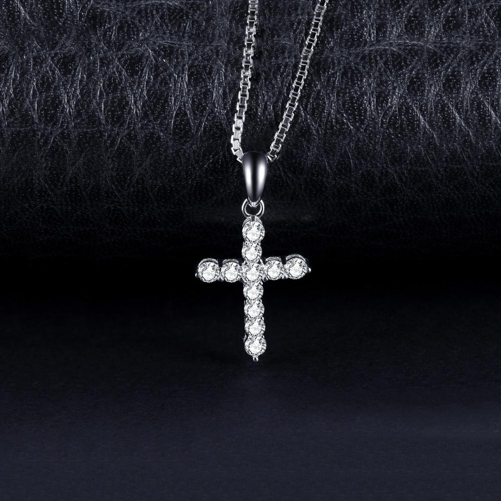 Cross CZ Silver Pendant Necklace 925 Sterling Silver Choker Statement Necklace Women Silver 925 Jewelry Without Chain - BEAUVAN