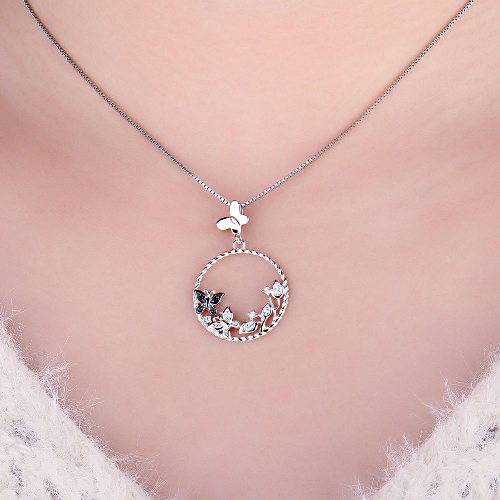 Butterfly Flower Natural Spinel Pendant Necklace 925 Sterling Silver Gemstones Choker Statement Necklace Women Without Chain - BEAUVAN