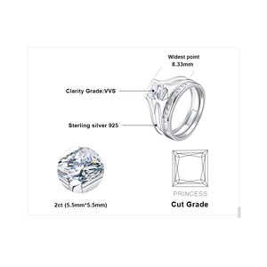 2ct Princess Engagement Ring Set for Women Wedding Rings Channel Bridal Set - BEAUVAN