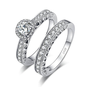 Vintage Silver Engagement Ring Set for Women Anniversary Wedding Bands Bridal Sets - BEAUVAN