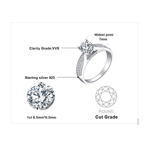 Solitaire Engagement Ring Anniversary Wedding Rings  for Women - BEAUVAN
