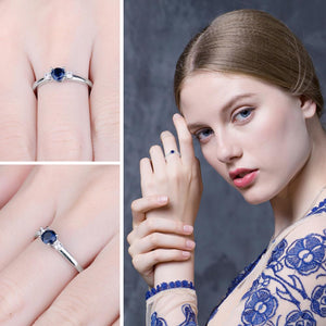 Blue Sapphire Ring Promise Engagement Ring for Women Gemstone Jewelry - BEAUVAN