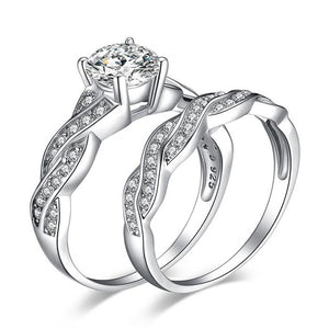 Infinity Engagement Ring Set for Women Anniversary Wedding Rings Bridal Set - BEAUVAN