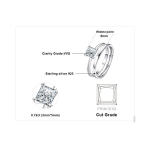 Engagement Ring Set for Women Anniversary Wedding Rings Bridal Sets Silver 925 Jewelry - BEAUVAN