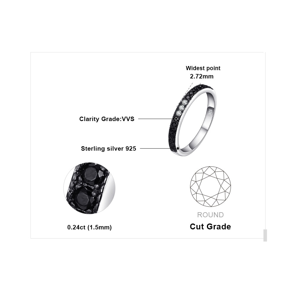 Black Spinel Ring Wedding Eternity Band - BEAUVAN