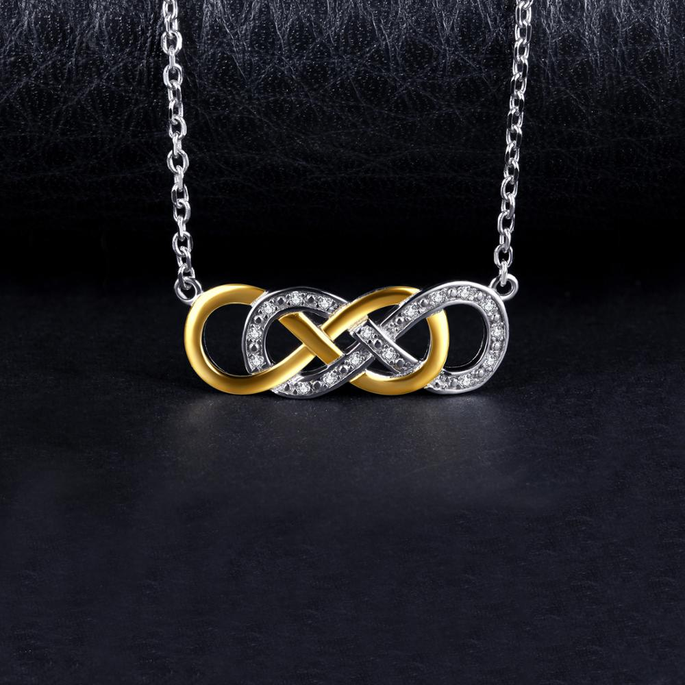Infinity CZ Gold Silver Pendant Necklace 925 Sterling Silver Chain Choker Statement Collar Necklace Women 45mm - BEAUVAN