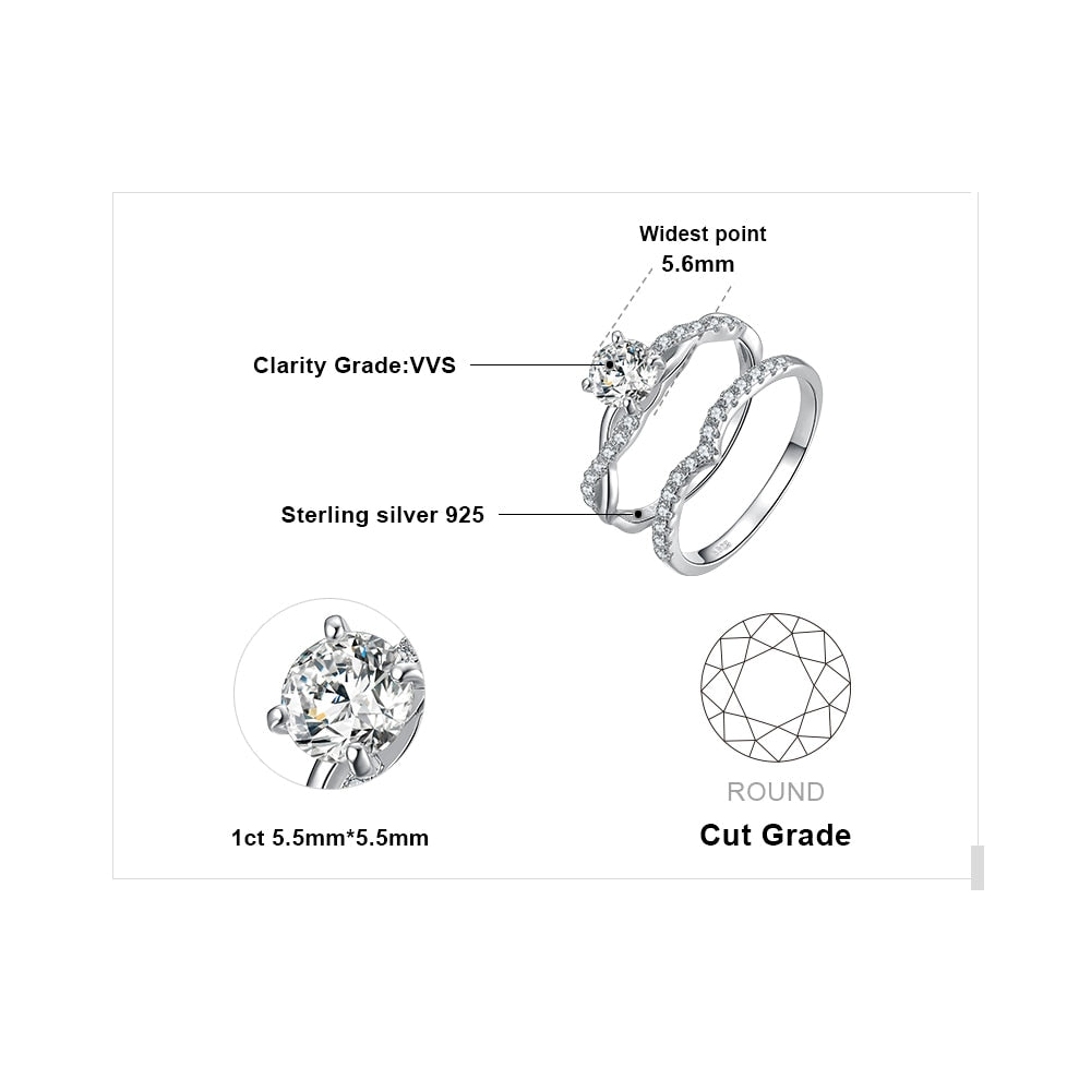 Infinity Engagement Ring Set for Women Wedding Rings Band Bridal Sets - BEAUVAN