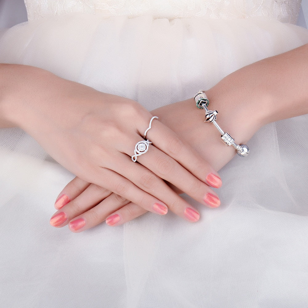 Infinity Engagement Ring Set for Women Wedding Bands Bridal Sets Jewelry - BEAUVAN
