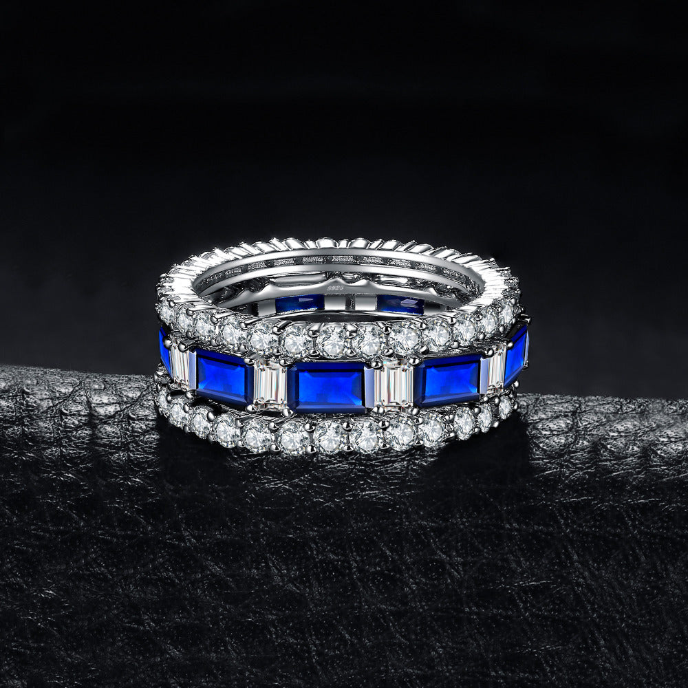 Spinel Wedding Anniversary Eternity Rings Sets - BEAUVAN