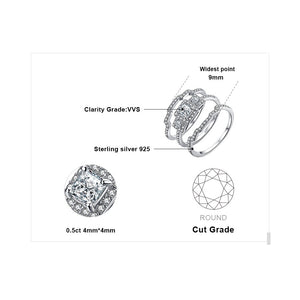 Princess Engagement Ring Set for Women Anniversary Wedding Rings Bridal Sets - BEAUVAN