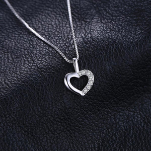 Heart Sterling Silver Pendant Necklace 925 Sterling Silver Chain Choker Statement Collar Necklace Women 45cm - BEAUVAN