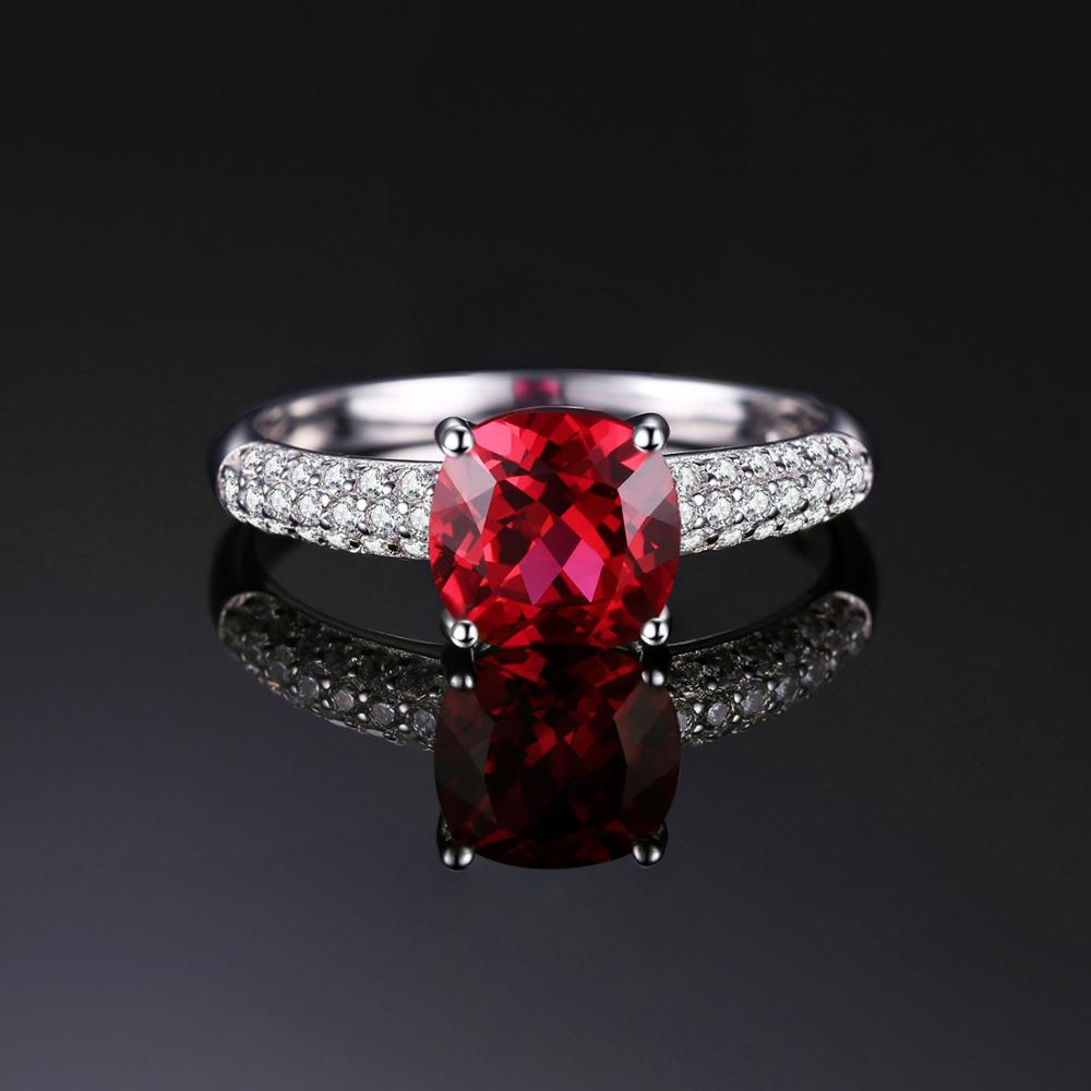Beauvan Cushion Created Red Ruby Ring for Women - BEAUVAN