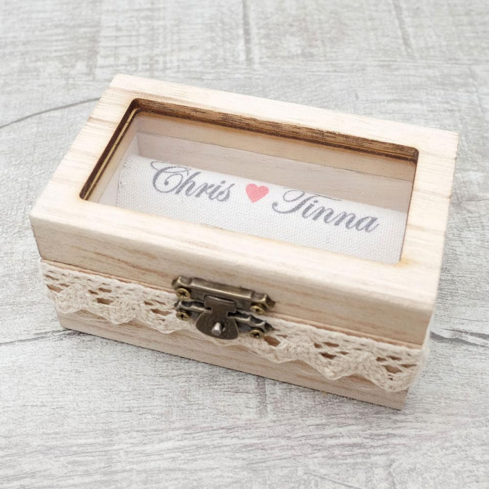 Personalized Gift  Wedding Ring Bearer Box Wood Wedding Ring Box Custom Your Names and Date - BEAUVAN