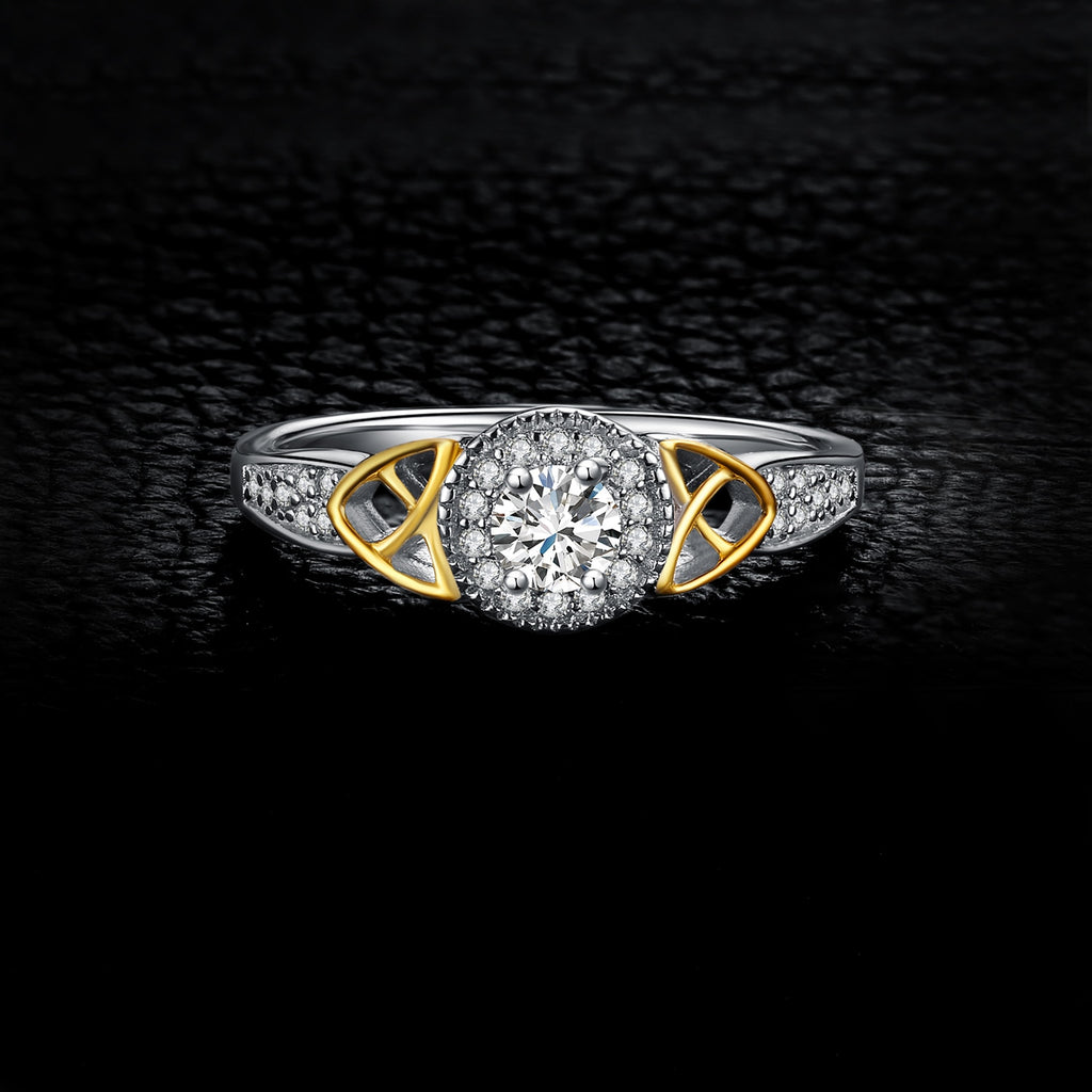 Celtic Knot Halo Engagement Ring Gold - BEAUVAN