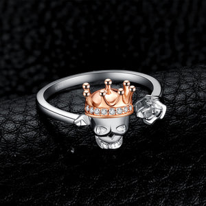 Skull King Crown Cubic Zirconia Rings Stackable Ring for Women - BEAUVAN