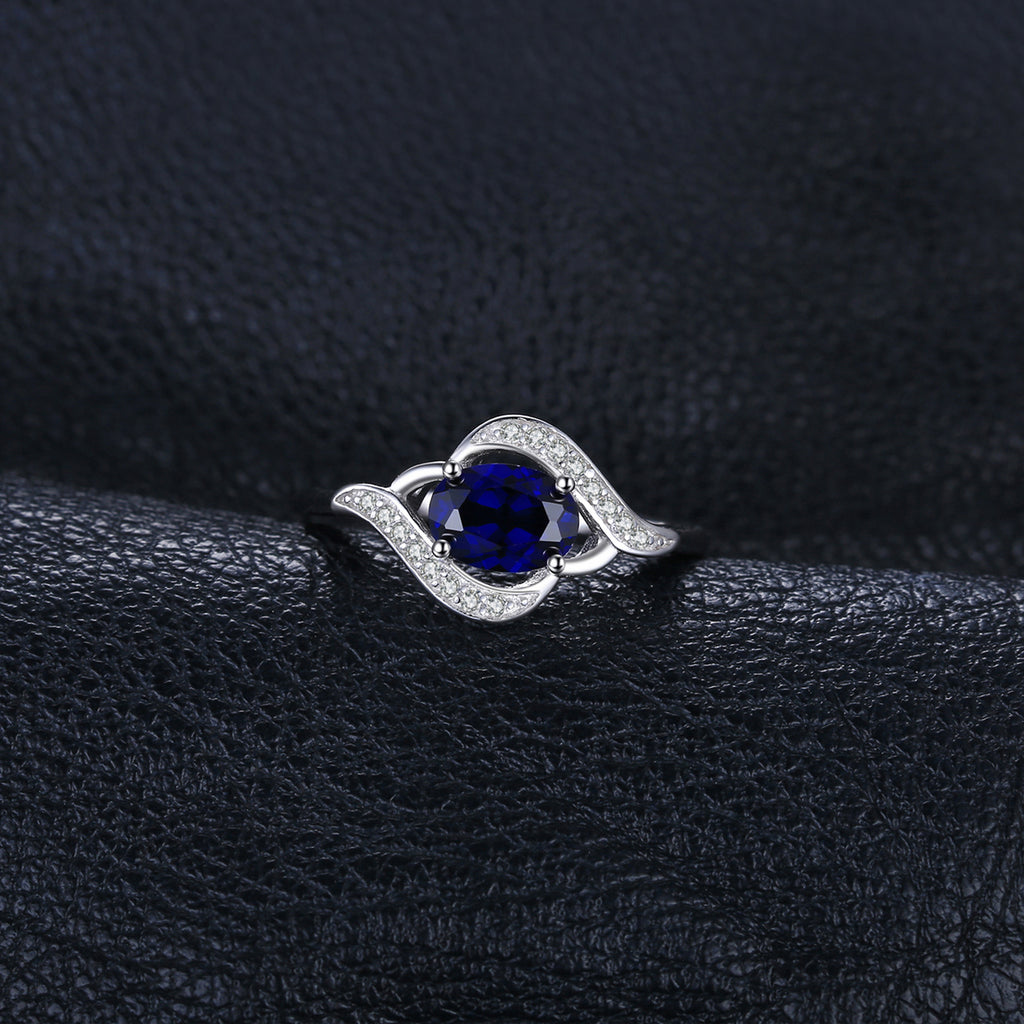 Halo Engagement Ring Sapphire Ring - BEAUVAN