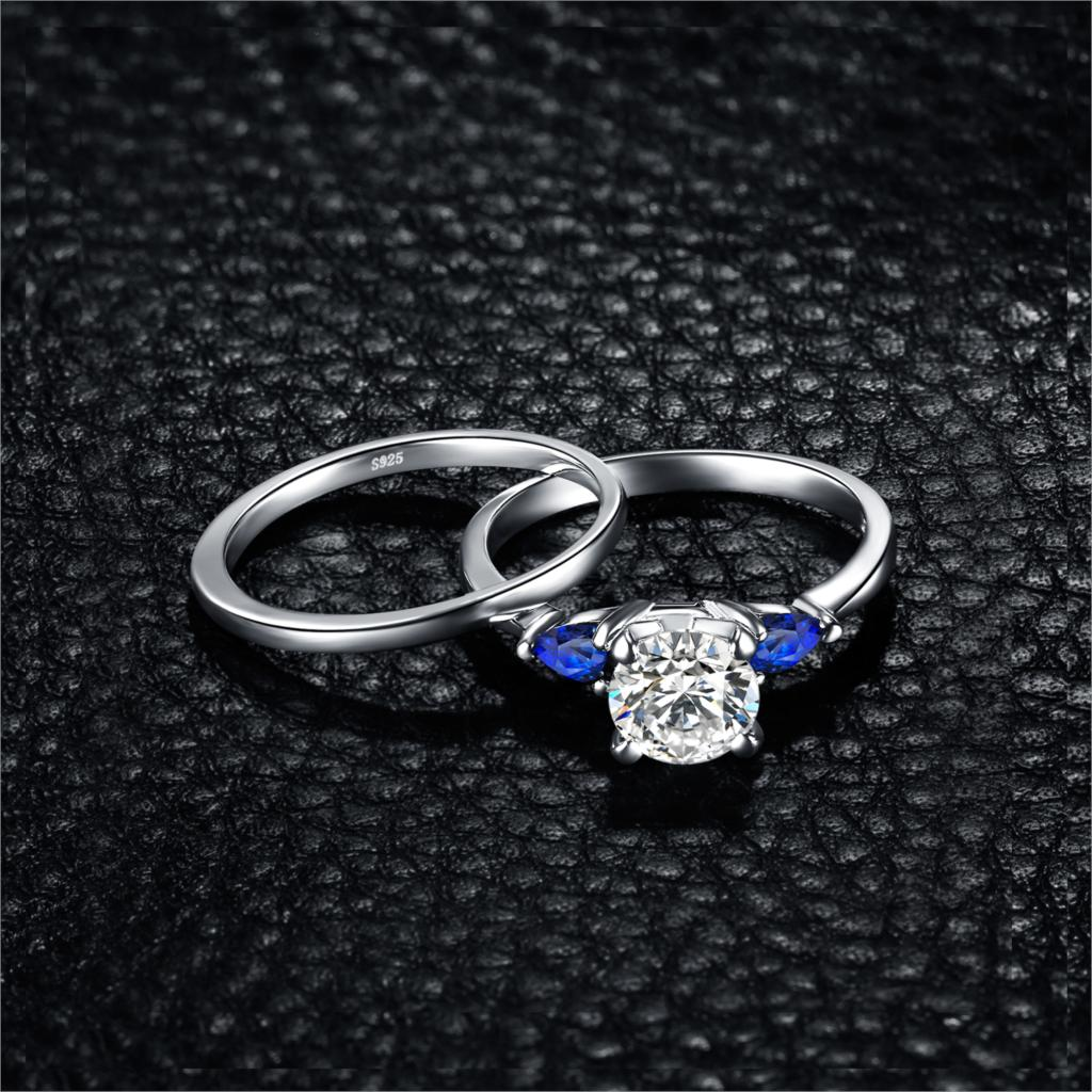 3 Stone Created Sapphire Engagement Ring for Women Wedding Rings Bridal Set - BEAUVAN