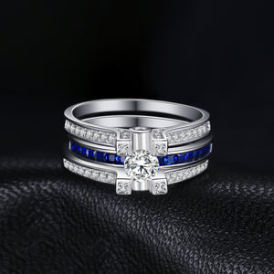 Created Sapphire Engagement Wedding Ring for Women Bridal Sets Jewelry - BEAUVAN