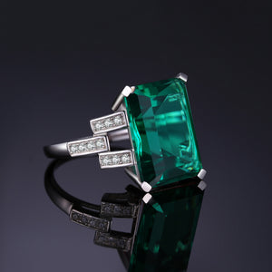 Nano Emerald Ring Engagement Wedding Ring for Women - BEAUVAN