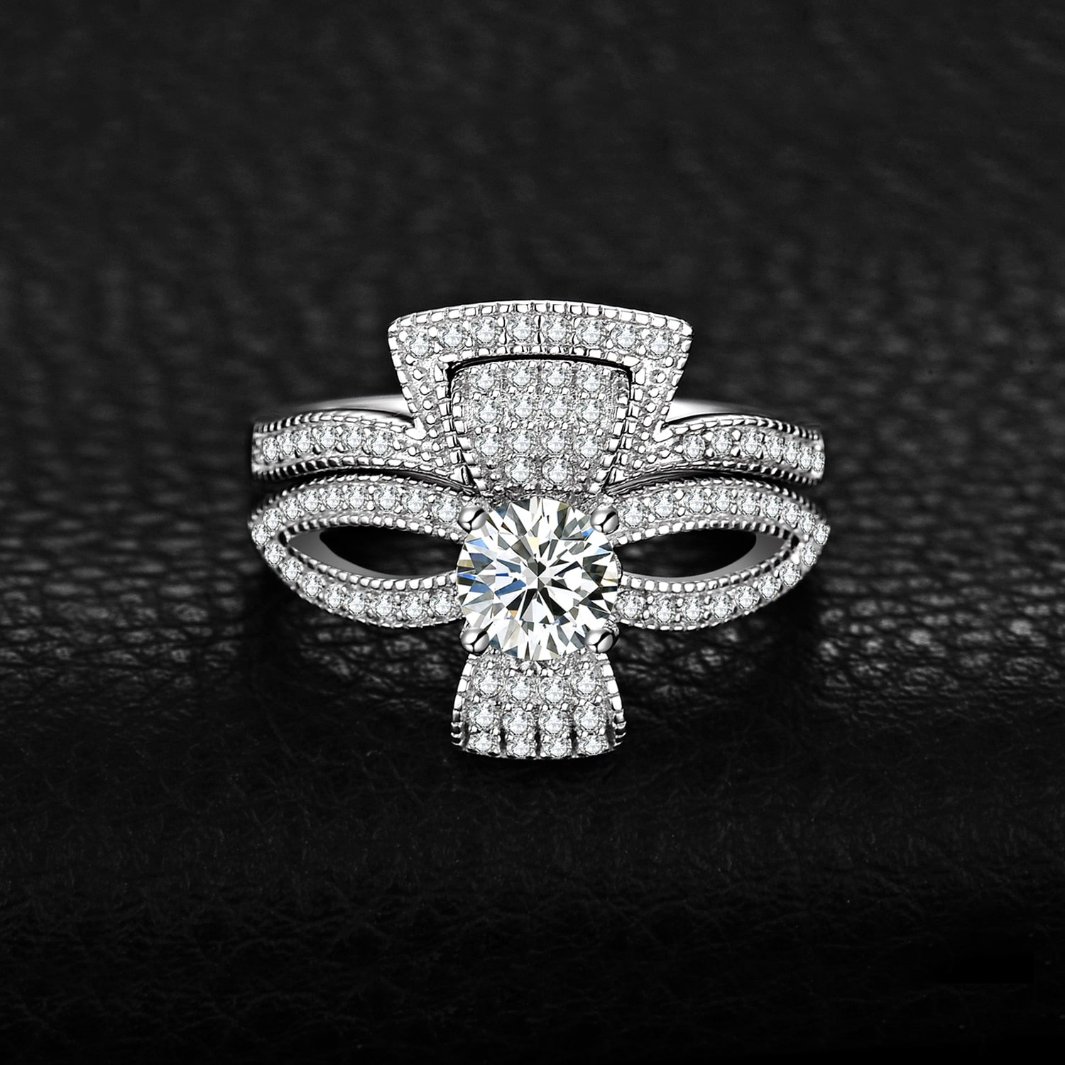 Cubic Zirconia Flora Ribbon Bowknot Split Shank Engagement Ring Sets - BEAUVAN