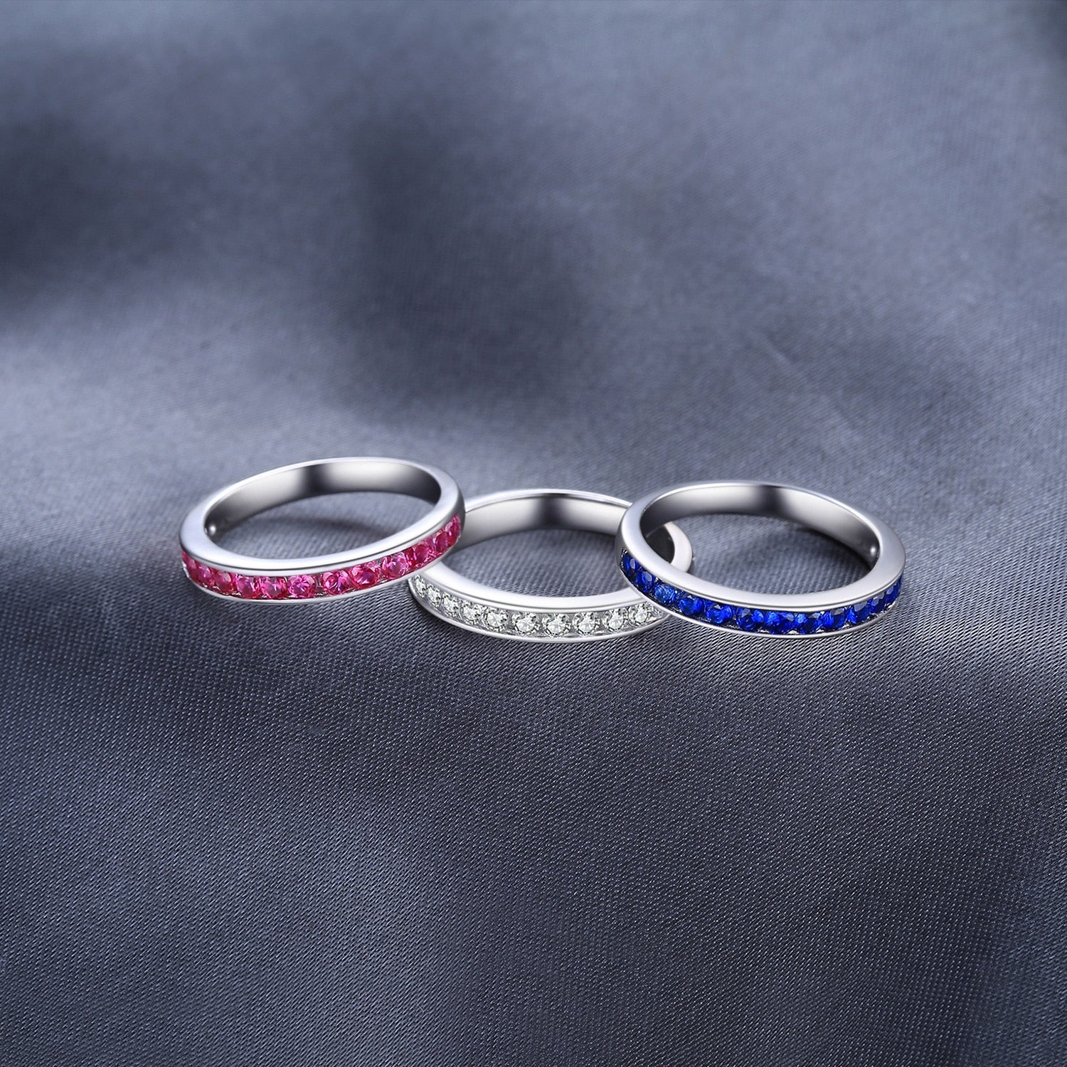 Created Ruby Sapphire Wedding Rings Set for Women Anniversary Band Ring Set - BEAUVAN