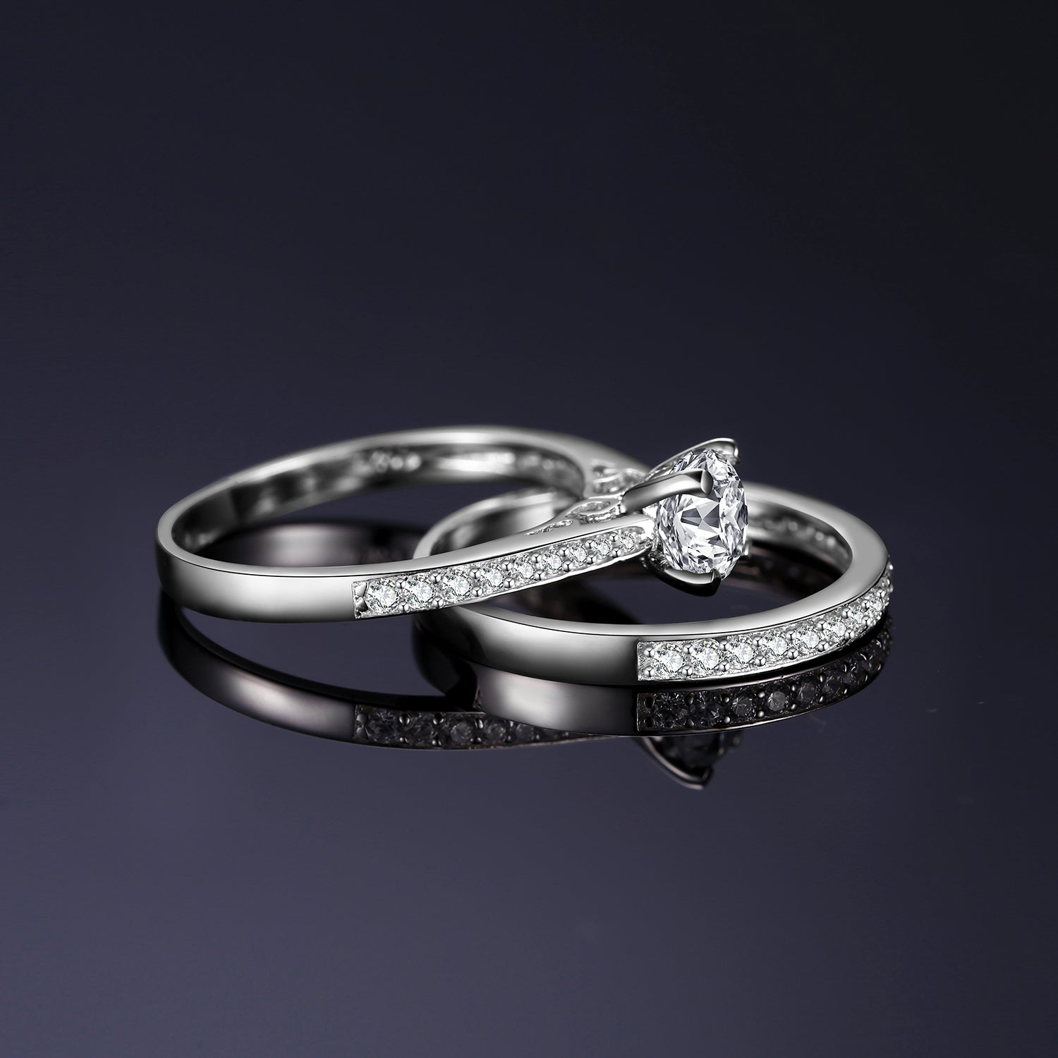 Engagement Ring Set for Women Anniversary Wedding Rings Bridal Sets - BEAUVAN