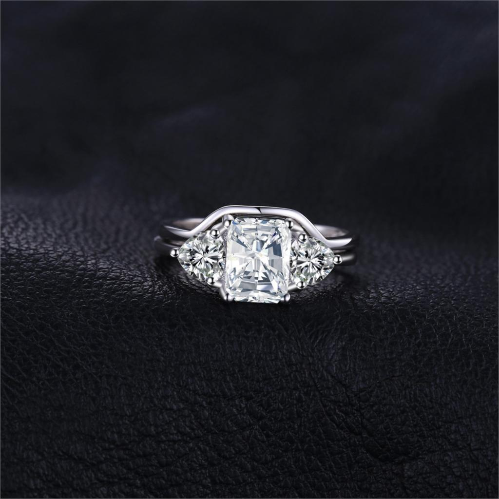 Emerald Cut Engagement Ring Set for Women Wedding Bands Bridal Sets - BEAUVAN