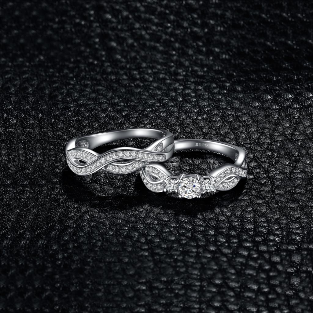 Infinity Engagement Ring Set for Women Wedding Rings Bands Bridal Sets - BEAUVAN