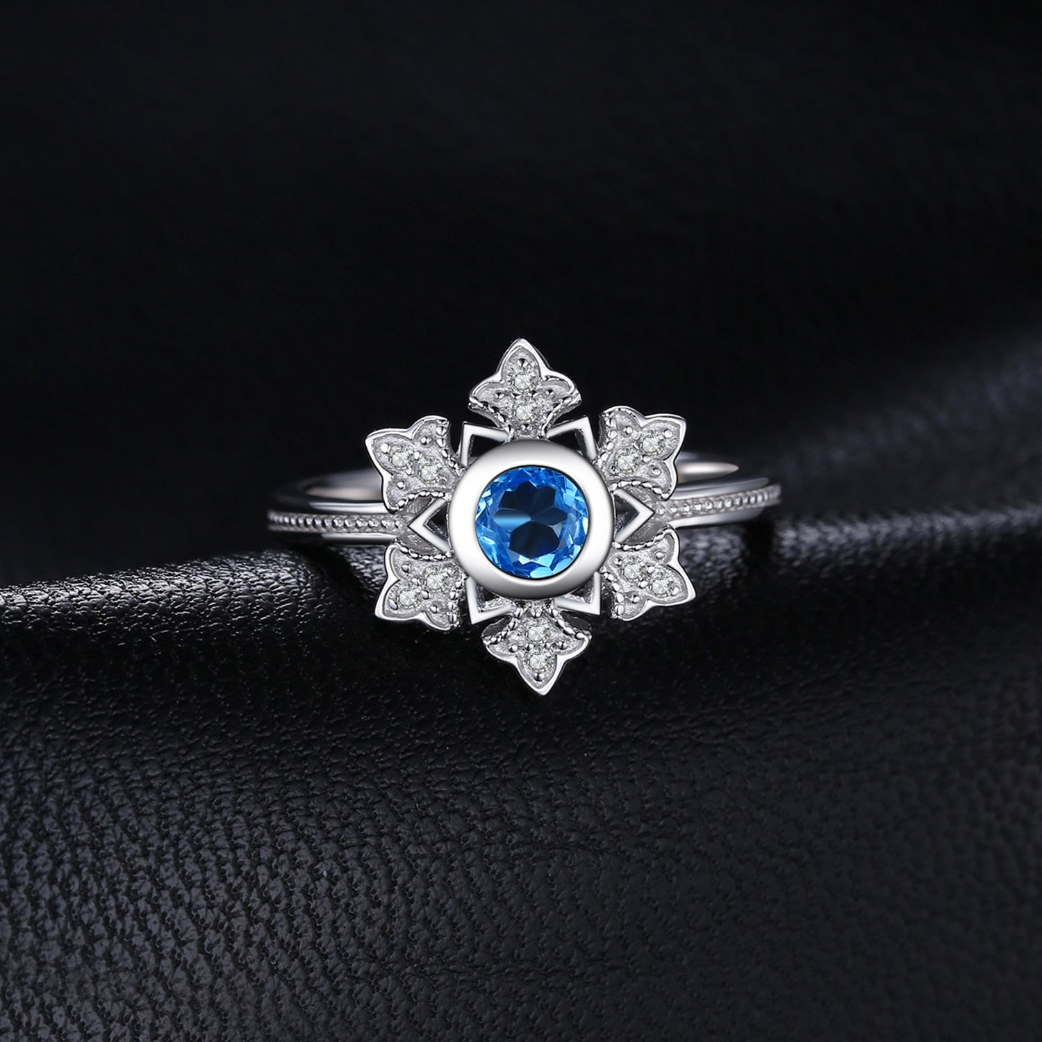 Snowflake Genuine  Blue Topaz Cocktail Ring  Elegant Gift - BEAUVAN