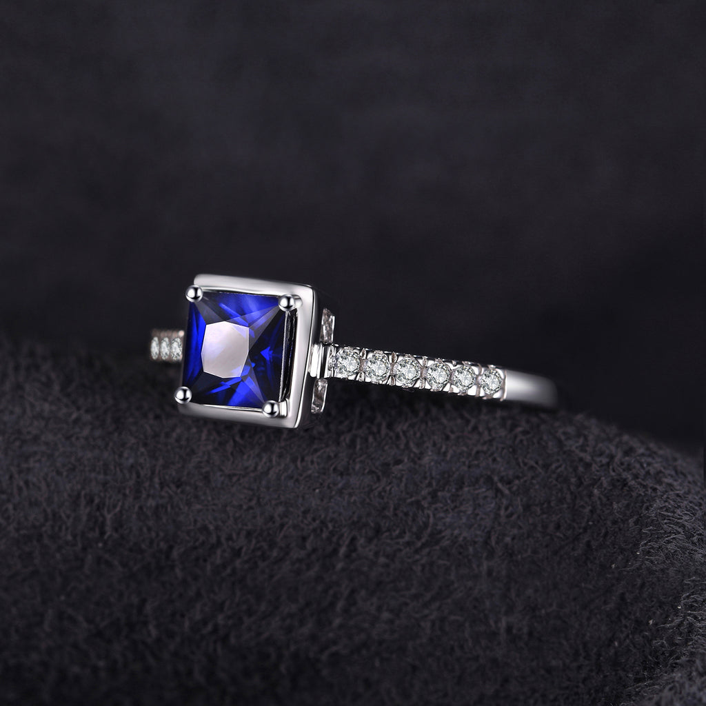 Square Blue Sapphire Engagement Ring - BEAUVAN