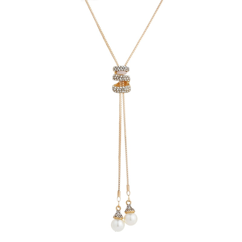 High Quality Fashion Metal Silver Long Tassel Rhinestone Crystal Pearl Long Chain Necklace - BEAUVAN