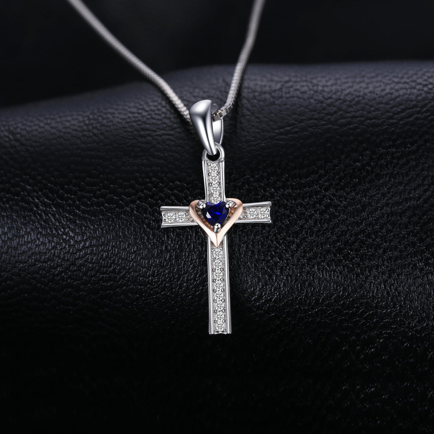 Cross Heart Created Blue Sapphire Pendant Necklace 925 Sterling Silver Gemstones Choker Statement Necklace Women Without Chain - BEAUVAN
