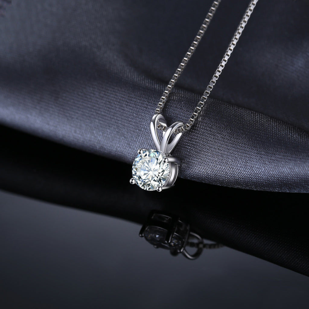 Round 1ct CZ Solitaire Pendant Necklace 925 Sterling Silver Choker Statement Necklace Women Silver 925 Jewelry Without Chain - BEAUVAN