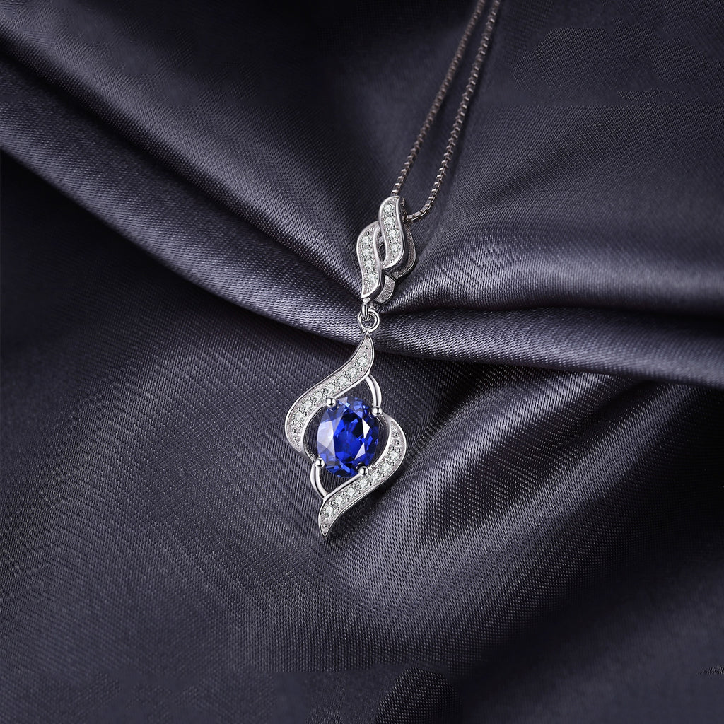 Created Sapphire Pendant Necklace 925 Sterling Silver Gemstones Choker Statement Necklace Women Without Chain - BEAUVAN
