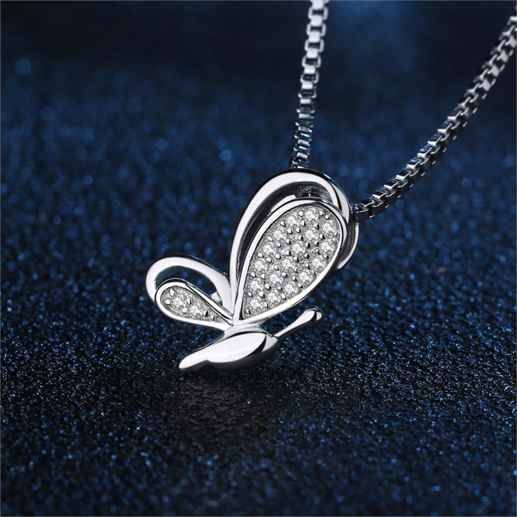 Butterfly Silver Pendant Necklace 925 Sterling Silver Choker Statement Necklace Women Silver 925 Jewelry Without Chain - BEAUVAN