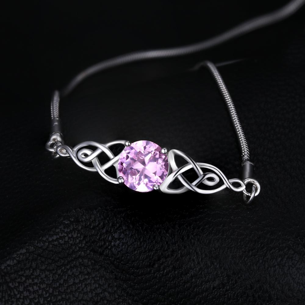 Celtic Knot Creat Pink Sapphire Bangle Bolo Bracelet Gemstones Bracelets For Women - BEAUVAN
