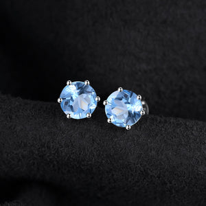 Genuine Blue Topaz Stud Earrings 925 Sterling Silver Earrings For Women Gemstones Korean Earings Fashion Jewelry 2020 - BEAUVAN