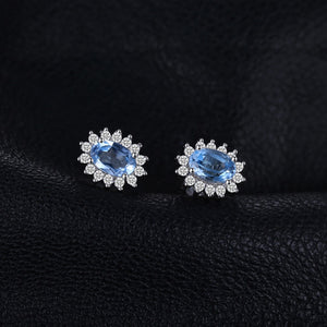 Diana Genuine Blue Topaz Stud Earrings 925 Sterling Silver Earrings For Women Gemstones Earings Fashion Jewelry 2020 - BEAUVAN