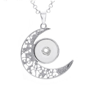 Hot Sale lot Silver Moon Snap Pendant 50cm Chains Necklace Fit 18mm Ginger Snap Necklace DIYJewelry - BEAUVAN