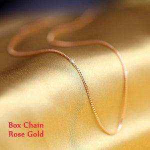 Real 925 Sterling Silver Necklaces Slim Thin Snake Chains Necklace Women Body Box Chain For Woman - BEAUVAN