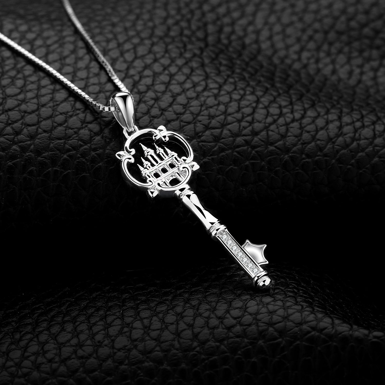 Cubic Zirconia Castle Key Pendant Necklace Without Chain 925 Sterling Silver Pendant Jewelry for Women Fashion - BEAUVAN