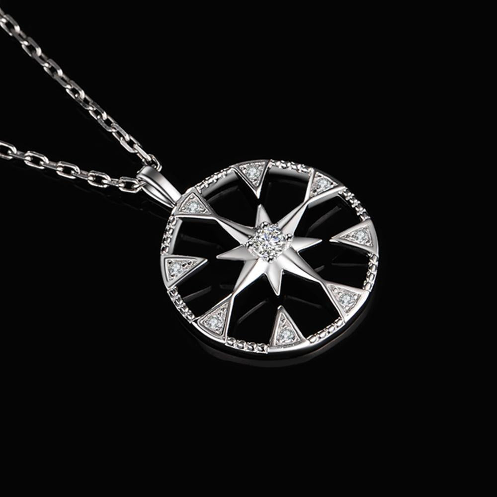 Milgrain Cut Coin North Star Pendant Necklace Without Chain 925 Sterling Silver Pendant Fashion Jewelry Making - BEAUVAN