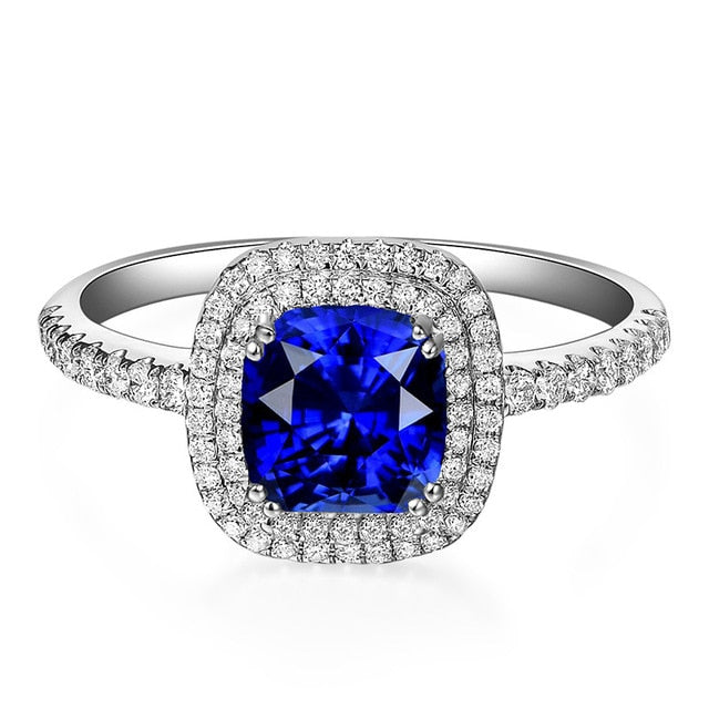 Cellacity Luxury Sapphire Ring For Women Blue Gemstones Open Female Anniversary - BEAUVAN