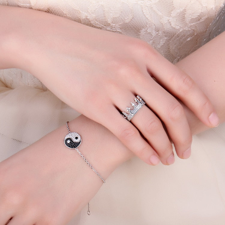 Taiji Genuine Black Spinel Bangle Bracelet Gemstones For Women - BEAUVAN