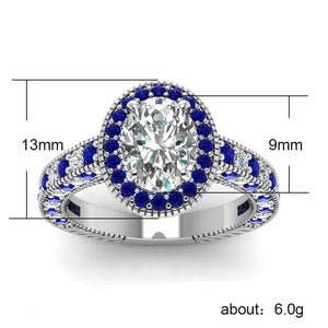 Classic Silver Luxury Jewelry with Oval shaped Sapphire Female Party Rings Gift - BEAUVAN