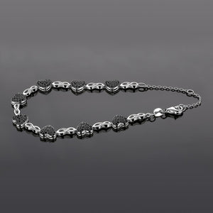 Heart Natural Black Spinel 925 Sterling Silver Bracelet for Women - BEAUVAN
