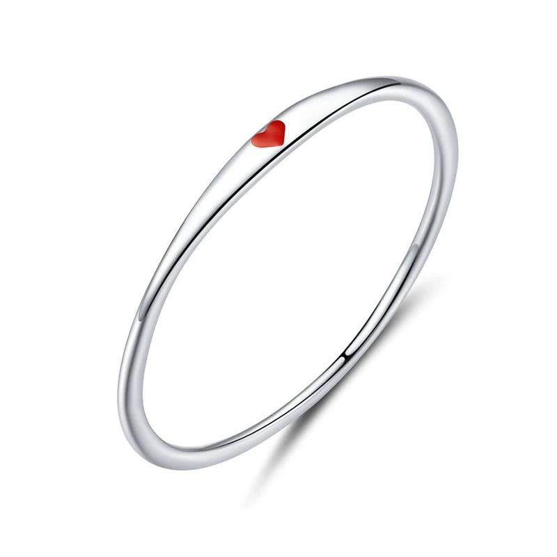 Tiny Red Enamel Heart Finger Rings for Women Circle Slim Fashion Rings - BEAUVAN