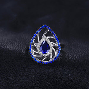 Pear Shape Created Sapphire & Blue Spinel Exaggerated Party Rings For Women - BEAUVAN